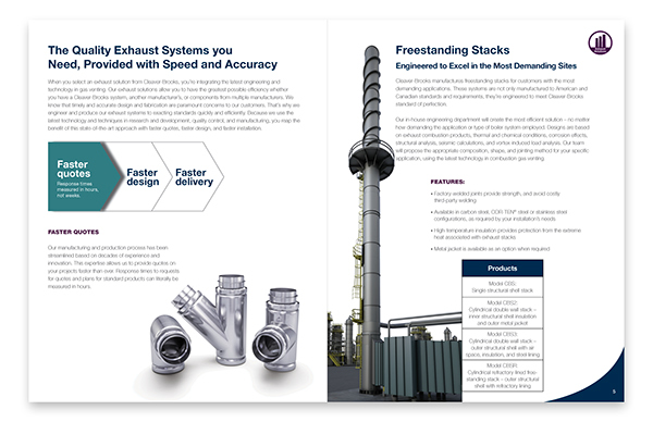 Exhaust solutions include special gas vents, grease ducts, freestanding stacks and more.